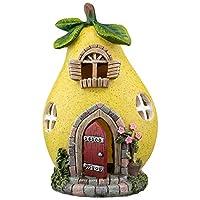 Garden Gear Solar LED Light Up Pear Fairy House, Decorative Outdoor Ornament, Height 19cm