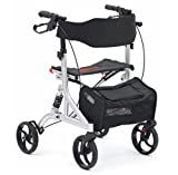 DRIVE Folding Suspension Rollator with Seat and Backrest, Silver