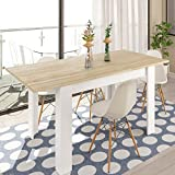 Habitdesign 0F4586A - Mesa de comedor extensible de 140 a 190 cm, color Roble Canadian y Blanco...