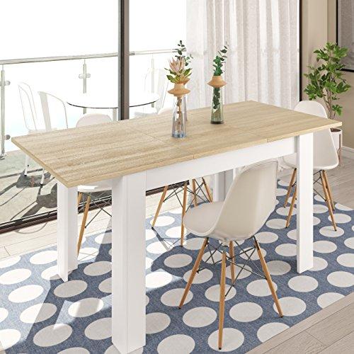 Habitdesign 0F4586 - Mesa de Comedor Extensible de 140 a 190cm, Mesa Salon  Color Blanco Artik y Roble Canadian, Medidas: 90 Ancho x 140 Largo x 78 ...