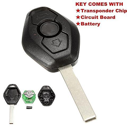 katur 3-Tasten-Funkschlüssel, Diamanten-förmig, Schlüssel für BMW E38E39E46EWS System 433MHZ mit PCF7935AS Chip HU92Bart, (Liftmaster Tür Batterie)