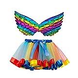 MoneycomEnfants Filles Skirt Tutu Fête De Noël Danse Ballet Toddler Costume Jupe + Wing Sets Marine(2-4 Ans)