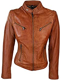Ladies Real Leather Tan Biker Style Fashion Jacket Size UK 6-20