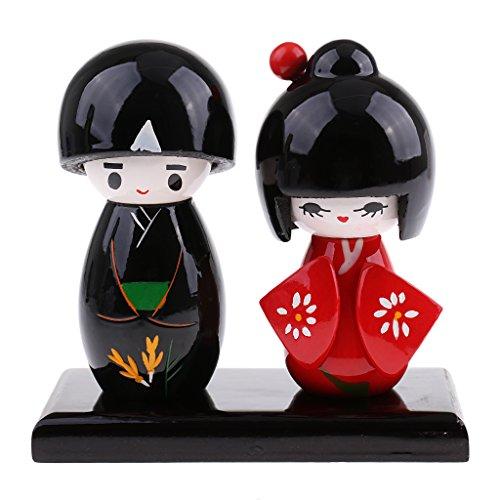 Sharplace 2er-Set Japanische Puppen Kokeshi Mädchen Puppe als Haus Deko oder Kunst Sammlung - Rot