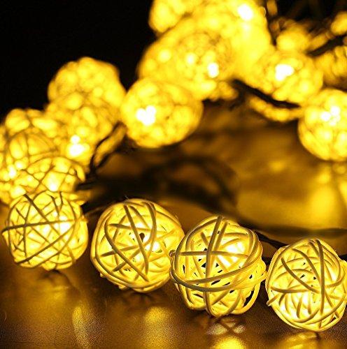 Guirlande lumineuse solaire d'extérieur Jardin & # Xff0 C ; 6,1 m 30led Rotin lampe Boule Globe Guirlande lumineuse & # Xff0 C ; Keeda lumières de Noël solaire pour jardin, cour, terrasse, fête, maison, décoration de fête de Noël de mariage 30 LED blanc chaud