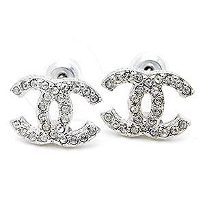 Carolina Meyer Doppel CC Ohrringe Cubic Zircons kristall Schmuck Ohrringe – versilbert Schmuck Geschenk fur damen Ohrringe (Produktcode 202-CC) Zirkonia, für Frauen, Mädchen