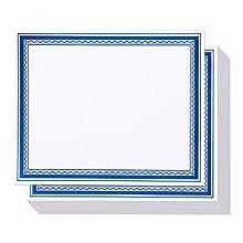 Carta per certificati, con bordo in lamina blu, confezione da 50