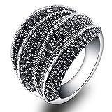mytysun Damen Ring Edelstahl Swarovski Elements Damen Vintage Rings Band Kristall Breiten Ring Damen Frauen Geschenk Markasit