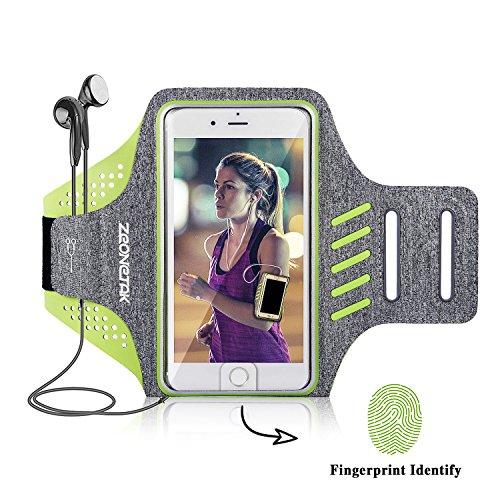 Zeonetak Handy Sportarmband Mit Fingerabdruck entsperren Dual-Einstellung Loch Kopfhörer Mund wasserdicht reflektierende atmungsaktiv Handyhalter Laufen jogging für iPhone 8 plus 7 X 6s 6 Samsung S8 S7 S6 Sony Xperia