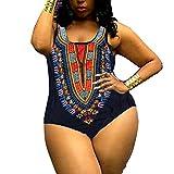 IMJONO IMJONO.Frauen-Kurve-Berufung Dashiki afrikanischer Druck Push-Up Bikini-Overall(Schwarz,XX-Large)