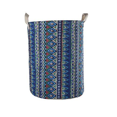 Newpower grande cesto biancheria pieghevole,portabiancheria per vestiti sporchi stare,collassabile borsa impermeabile in lino con coulisse-h50 x w40 cm(65l),boemia c.
