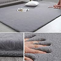 INMOZATA Bedside Carpet Area Rug Fuffy Rug Sheepskin Rugs for Living Room Bedroom Sofa Floor 70X140cm(Light Grey)