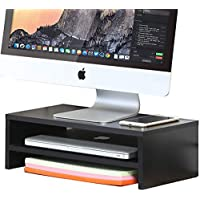 FITUEYES 2 Tier Tabletop Wood Monitor Stand Computer Screen Riser Desk Organiser Shelf with Storage DT204201WB