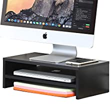 FITUEYES Monitor Stand Wood Black 2 Tier PC Laptop Computer Screen Riser 42.5x23.5x14cm DT204201WB