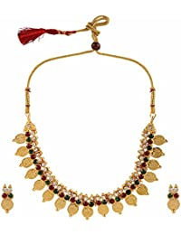 Efulgenz Traditional Gold Plated Ethnic Laxmi Coin Temple Necklace Jewellery Set With Drop Earrings For Women