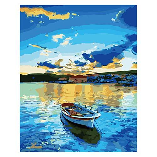 Painting shop DIY Digital Leinwand Ölgemälde Geschenk für Erwachsene Kinder Malen nach Zahlen Kits Hauptdekorationen - Lakeside Boat