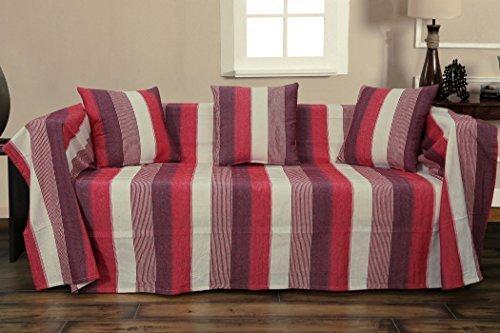 kliving 70 x 100-Inch 75% coton 25% polyester à rayures Couvre-lit, naturel/rouge/vin
