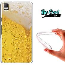 Becool® Fun - Funda Gel Flexible para Bq Aquaris E5 4G .Carcasa TPU fabricada con la mejor Silicona, protege y se adapta a la perfección a tu Smartphone y con nuestro diseño exclusivo Cerveza rubia