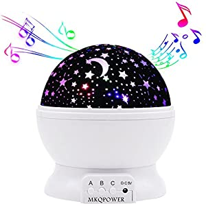 MKQPOWER Modern Rotating Moon Sky Projection LED Night Lights Toys Table Lamps with Timer shut off & Color Changing For Girls Baby Bedroom Decorative Lights Gift Baby Nursery Lights