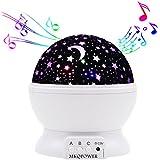 Luz nocturna de temporizador, dstana 360rotación Star Moon Sky lámpara de proyector, romántico decoración del hogar regalo de Navidad para niños (con música), color blanco