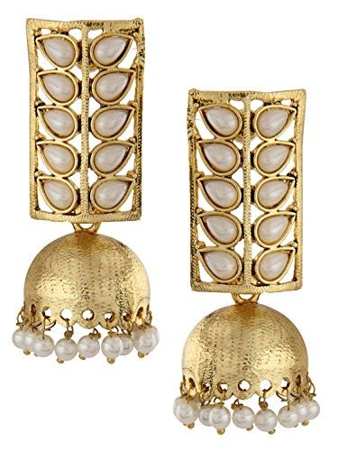 Shining Diva Traditional Pearl Jewellery Stylish Fancy Party Wear Jhumki/Jhumka Earrings For Women and Girls (Golden) (8421er)