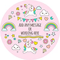 Unicorn Rainbow Magical Sticker Labels Personalised Seals Ideal for Party Bags, Sweet Cones, Favours, Jars, Presentations Gift Boxes, Bottles, Crafts