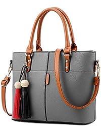 Fargo Flames PU Leather Women's Satchel Handbag (Grey_FGO-181-2)