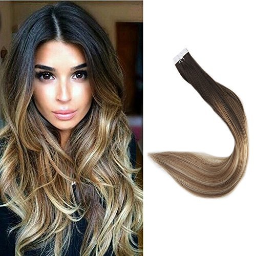 Full Shine 16 Zoll Dip Dye Remy Tape in Extensions Echthaar 20pcs Ombre #2/8/22 Dunkelbraun zu Blond mit Brown Haar Tape Extensions 50gramme