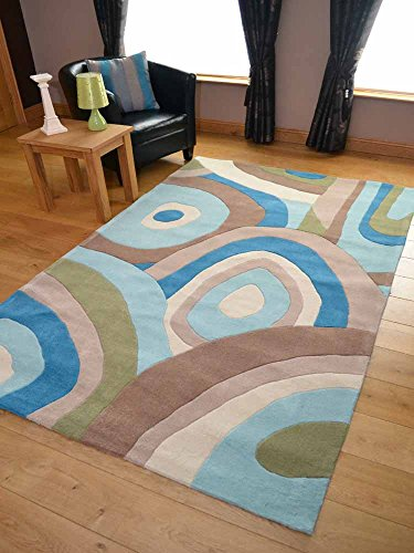 Picasso Whirl Blue Design Rug. Available in 4 Sizes. (150cm x 240cm)