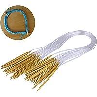 Kurtzy - Set 16 Piezas Agujas Tejer Circulares de 40cm - Kit Agujas de Bambú 16 Mega Tamaños con Tubo Transparente - Tamaños: 2mm a 12mm- Agujas Puntiagudas para Principiantes y Profesionales