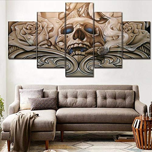 Hlfymx (nessuna cornice) 5 pezzi canvas print abstract artistico colorato skull painting mo rn wall art modulare homecorative living room