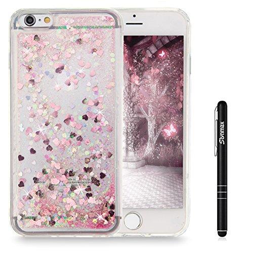 """Slynmax iPhone 6s Plus Hülle TPU Glitzer Liquid Silikon Transparent Schutzhülle für iPhone 6 Plus/6s Plus 5,5"""" Handyhülle Tasche Stoßfest Treibsand Luxus Glänzend Kristall Handy Zubehör Shell(Pink)"""