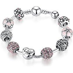 A TE® Armband Charms Rosa Kristall Amor Herz Beads Damen Geschenk #JW-B127(18cm/20cm) (21.00)