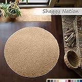 Shaggy-Teppich | Flauschiger Hochflor für Wohnzimmer, Schlafzimmer, Kinderzimmer oder Flur Läufer | einfarbig, schadstoffgeprüft, allergikergeeignet | Beige - 200 cm rund