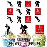 Keep Calm and Akkordeon Spieler Mix Essbar Stand-up Cupcake Topper (Pack von 12)