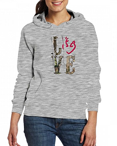 LOVE Camo Womens Hoodie Fleece Custom Sweartshirts Grey