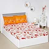 #6: Solimo Lily Bloom 144 TC 100% Cotton Double Bedsheet with 2 Pillow Covers, Brown