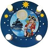 Elobra - Lámpara de techo con 20 ledes, diseño de piratas, color azul