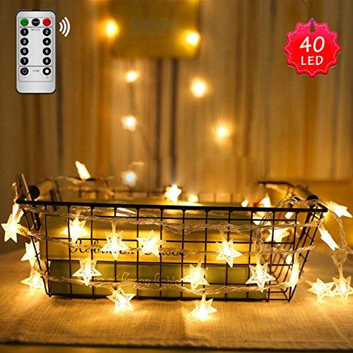 Catena di luci led stelle binken [40 led 5 metri] luci di fata stelle con 8 modalità & controllo remoto impermeabile decorazione per bambini, casa, giardino, nozze, compleanno e festa (bianco caldo)