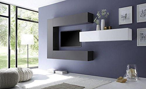 Sodani parete attrezzata mobili soggiorno 4 mobili sospesi in melamina 28,7x31x139cm cube bianco e grigio