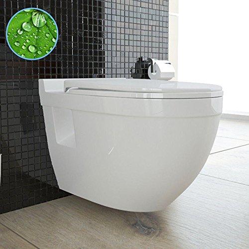Wand Hänge WC mit WC-Sitz inkl. Soft-Close Weiss Keramik Toilette mit Nano-Beschichtung Tiefspüler passend zu GEBERIT - 4