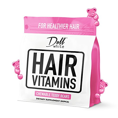 Doll White™ Haar Vitamine - Kautabletten-Vitamine für längeres und dickes Haar • Ein Monat Versorgung • Wachsen Sie längeres Haar schneller • Stoppen Sie Haar-Bruch • Wachsen Sie dickeres und glänzendes Haar • Erdbeere Aromatisiert