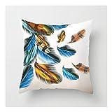 SHUCHANGLE (2pcs/Set) Kreative Home Decoration Weiß Leinen Hug Kissenbezug Blau Gelb Feder Sofa Kissenbezug