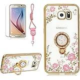 Transparente Plating carcasa de TPU para Samsung Galaxy S6, girlyard rosa flores y mariposas tema suave silicona TPU Bumper, protección Bling Glitter Diamante Carcasa para Samsung Galaxy S6