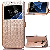 Galaxy S7 Edge Coque - Mythollogy Ultra Mince PU Cuir Portefeuille Etui Fenêtre Style avec Support Housse pour Samsung Galaxy S7 Edge G935F 5.5' Or