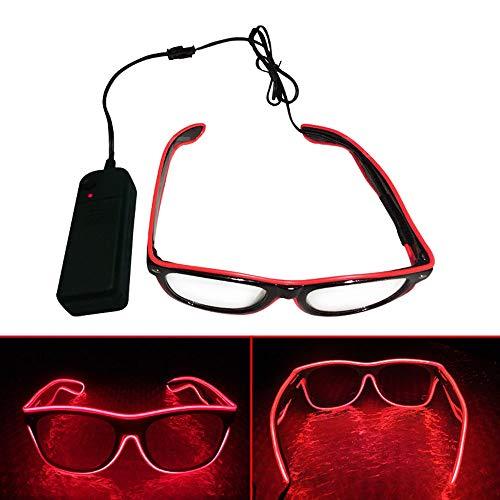 El Wire LED Gläser, Spezielle Shutter Light Monochrom EL Draht Glow Shades Brillen Brillen W/Batterie Case Controller für Rave Kostüm Party DJ Musik Party Halloween Weihnachtsgeschenk Rot
