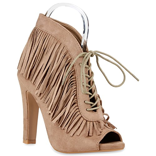 Damen Pumps Stiefeletten High Heels Schnürpumps Cut-outs Nude Total Fransen