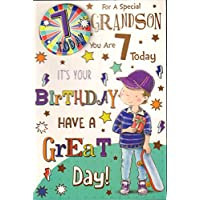 Grandson 7th Birthday Card -