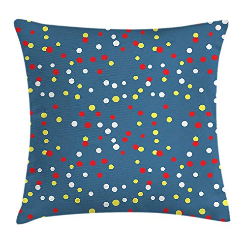 GONIESA Yellow and Red Throw Pillow Cushion Cover, Randomly Scattered Colorful Circles Dots Festive Dynamic Carnival Pattern, Decorative Square Accent Pillow Case, 18 X 18 inches, Multicolor