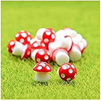 JwlqAy Exterior Interior Mini Setas de PVC Casa Miniatura Jardín de Hadas Micro Paisaje Jardín Decoración Macetas Bonsai Craft Decor (Rojo)